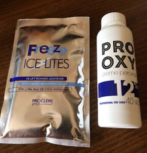 Hair Powder Bleach Freeze IceLites With 12% (40volume)Creme Peroxide Developer
