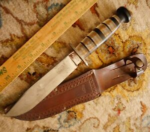 "Vintage KINFOLKS Fixed Blade 10.5"" Hunting Knife Unusual Stacked Plastic Handle"