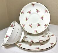 Vintage Royal Grafton Bone China Tea Cup Saucer Plate England Roses Gold 4PC Set