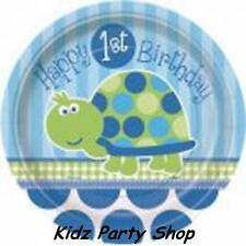Turtle Boys 1st Birthday Party - 8 Paper Plates 17cm - FREE POST IN UK