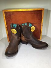 Corral Lamb Abstract C1064 Women 7M Brown Distressed Leather Short Boots X1-698