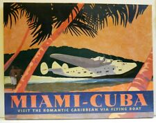More details for  vintage cuba flying boat advertising travel poster by david grandin on canvas