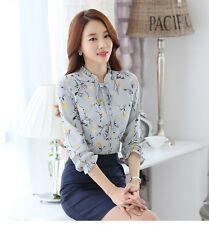 New Elegant Korean Career OL Chiffon Blouse Womens Slim Printed Tops Shirts A+++