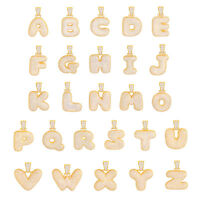 """A - Z Initial Bubble Letter Gold Plated Iced CZ Pendant 24"""" Chain Necklace"""