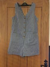 Topshop Stripe Playsuit Jumpsuit Buttons