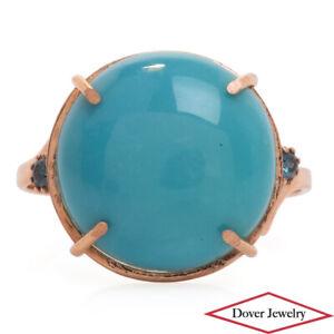 Estate Blue Diamond Turquoise 14K Gold Ring NR
