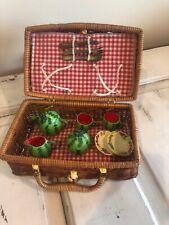 Vintage Children's Miniature Doll Tea Set And Basket, Watermelon Pattern