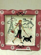 "Certified International~ Jennifer Brinley~ ""Bonjour"" Girl~Square Plate~ 9"" Decor"