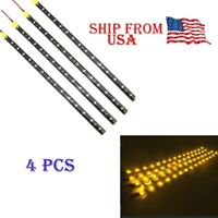 "Yellow 4PCS 12V 12"" 15SMD Flexible LED Strip Light Waterproof For Car Truck Boat"