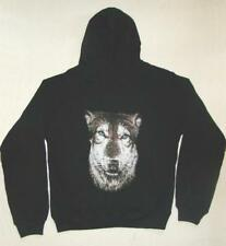 """Ladies Hoodie with Wolf Face printed on back. Size Medium Bust 38"""""""