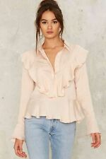 nasty gal Never Enough Ruffle Top large endless rose