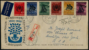 Indonesia 488-93 on registered FDC- World Refugee Year