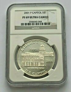 2001 P SILVER U.S. CAPITOL SILVER $1 PROOF NGC 69 ULTRA CAMEO COIN