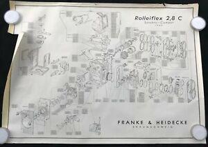 Exploded Diagram / Schematic Rolleiflex 2.8 C TLR Franke & Heidecke OEM Poster