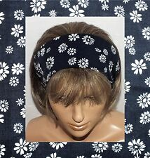 GENUINE VINTAGE 90s COTTON FLORAL HANDMADE HAIR WRAP BANDANA SCARF HEADBAND E351