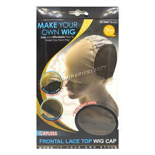 Qfitt Make Your Own Wig Capless Frontal Lace Top Silky Natural Caps #5067 Black