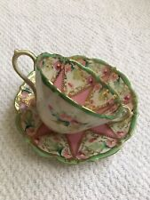 ANTIQUE GORGEOUS NIPPON HAND PAINTED CUP & SAUCER PINK STAR FLOWERS -GOLD DETAIL