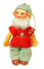 Vintage Red Green Plastic Cloth Dwarf Christmas Ornament