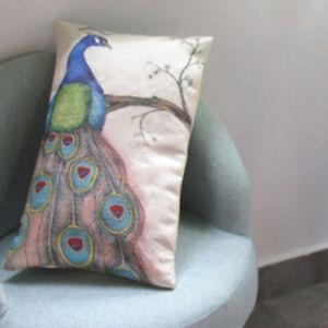 Peacock Linen Long Pillow Case Cushion Cover Sofa Bed Car Office Decor HO