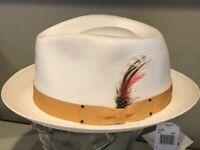 Kangol Bar Mason Men/'s Paper Straw Center Dent Fedora Hat Natural Authentic USA