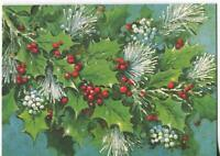 VINTAGE CHRISTMAS MODERN RETRO HOLLY BERRIES WHITE MISTLETOE PINE GREETING CARD