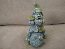 CEMENT GRAY GARDEN GNOME WITH MUSHROOM & MOSS PATCHES RIDING A LADY BUG