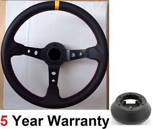 DEEP DISH LEATHER SPORT RACING STEERING WHEEL AND BOSS KIT HUB FITS MOST VW