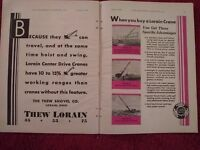 Vtg 1930 Thew Lorain 2 Page Crane Ad Advertisement: Models 74, 55, 45