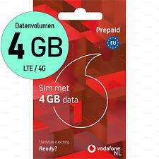 SIM-Karte 4GB DATEN Aktiviert EU-Roaming Vodafone Niederlande 4G LTE Prepaid