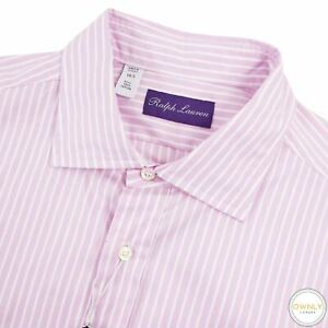 NWT Ralph Lauren Purple Label Pink White Cotton Striped Spread Dress Shirt 16.5
