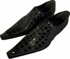 100% Chelsy - Italian Top Design Shoes Hand Made Chess Board Black 41