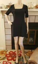 BOSTON PROPER Ponte Little Black Dress Fitted Sheath Stretch Size 6 Short Sleeve