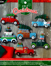 Bucilla Holiday Shopping Spree ~ 6 Pce. Felt Christmas Ornament Kit #86836, Cars