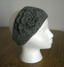 Heather Gray Adult Handmade Crochet Acrylic Flower Headband