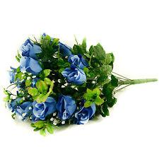 Artificial silk Rose & Gyp flower bouquet 55cm 24 stems of Blue Roses