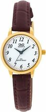 Q&Q by Citizen C155J104Y  Gold Tone Leather Strap Women's Watch - GREAT GIFT $49