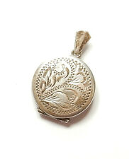Vintage 1970's 925 Sterling Silver ROUND PATTERNED PHOTO PICTURE LOCKET 5.4g