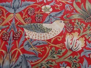 """William Morris Curtain Fabric """"STRAWBERRY THIEF"""" 0.9 METRES (90cm) Crimson/Slate"""