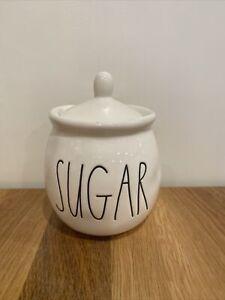 "Cute Rae Dunn Sugar Bowl with Lid 181 Collection 6""x4"" LL Magenta Artisan Coffee"