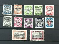 GERMANY 1939: 12 new Danzig Postage Stamps Overprinted with 2 RM MNH VF