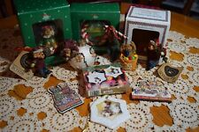 Lot of 10 Boyds Bears Collection Ornaments & Figurine Christmas Basketbearies