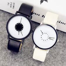 PU Leder Armbanduhr Quarzuhr Herrenuhr Damenuhr Quarz-Uhr Analog Schwarz Weiß