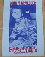 swiss EXHIBITION POSTER 1980 - JOHN M ARMLEDER - 891 ART MUSEUM BASEL serigraph