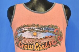 vtg 70s KEEP CALIFORNIA GREEN GROW GRASS FUNNY WEED MARIJUANA TANK TOP t-shirt M