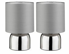 Table Lamp Set Of 2 Touch Lamps Home Lighting Decor Silver Grey Lamp Shade New