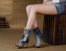 New Ladies Denim Peep Toe Side Zip Fashion Casual Ankle Boots Stilettos Shoes sz