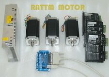3 Axis Nema23 stepper motor 425Oz-in 112mm Dual shaft &4A Driver CNC Router Kit