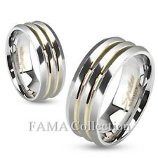 FAMA Stainless Steel Three Layered Ring with Gold Lines Size 5-13
