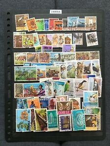 Zambia: Collection of used stamps on well-filled stock page
