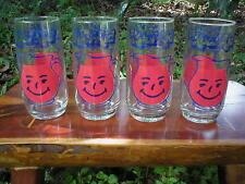 New old stock Kool Aid Man Kool-Aid Soft drink Brand Glasses Set of 4 Real Glass
